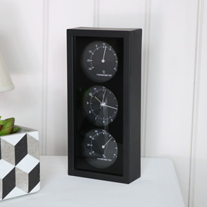 Black Thermo/Hydro Wall Clock