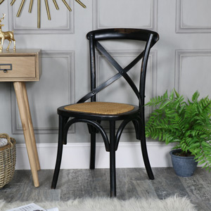 Black Vintage Crossback Bistro Dining Chair - Pierre Range