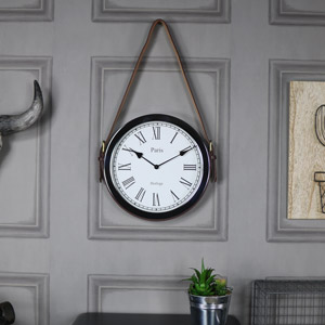 Black Wall Clock with Belt Strap Hanger
