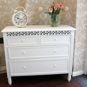 White 2 Over 2 Chest of Drawers - Blanche Range