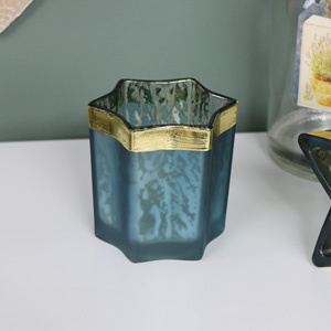 Blue and Gold Glass Star Tea Light Holder