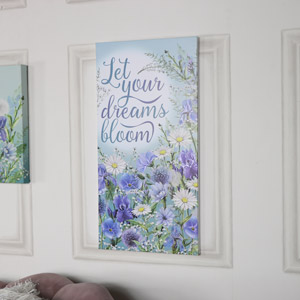 Blue Floral Wall Mounted Canvas Print