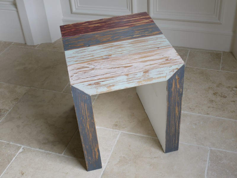Blue Wooden Side Table