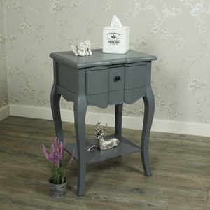 Boudoir Grey - Bedside Table with Shelf