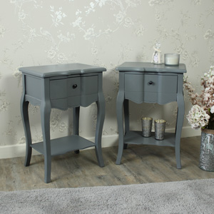Boudoir Grey - Furniture Bundle, Pair of Grey 2 Drawer Bedside Table