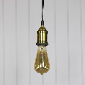 Brass Bare Bulb Industrial Ceiling Light Fitting