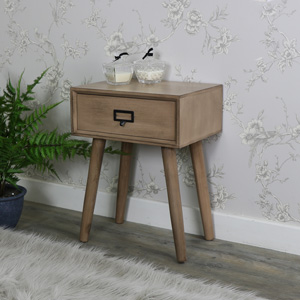 Brown Wooden Retro Style 1 Drawer Bedside Table - Brixham Range