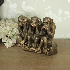 Bronzed Three Wise Monkeys Ornament
