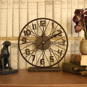 Brown Rustic Metal Bicycle Wheel Spokes Mantel Clock