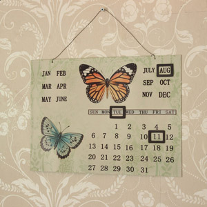 Vintage Style Metal Butterfly Calendar
