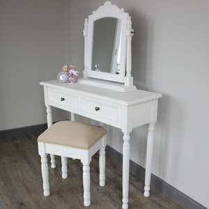 Camille Range - White Dressing Table, Swing mirror and stool
