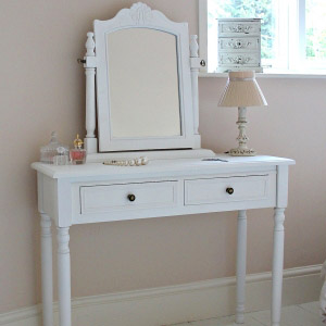 Camille Range - White Dressing Table with Swing Mirror