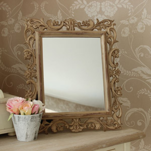 Carved Washed Wood Effect Mirror
