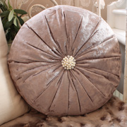 Crushed Velvet Effect Cushion with Diamante and Pearl Detail