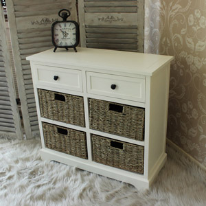 Ch�teau Range (Seagrass Basket) - Ivory Wicker Storage Unit - Two Drawer/Four Basket