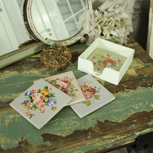 Classic Rose Set of 4 Ceramic Coasters in Holder