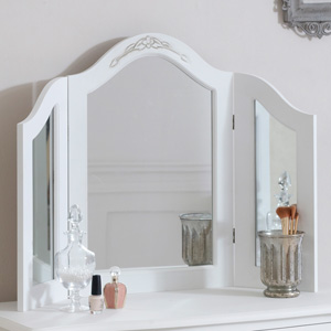 White Triple Dressing Table Vanity Mirror - Classic White Range