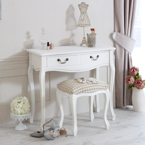 White Dressing Table & Stool - Classic White Range