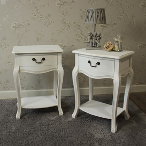 Classic White Range - Furniture Bundle, Pair of White One Drawer Bedside Tables with Shelf