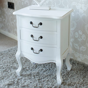 Classic White Range - White 3 Drawer Bedside Cabinet