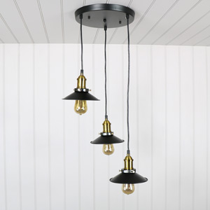 Black Metal 3 Light Ceiling Cluster