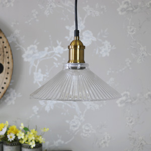 Clear Ribbed Glass Industrial Ceiling Light