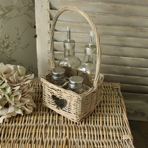 Condiment and Cruet Set in Heart Wicker Basket