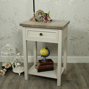 Grey 1 Drawer Bedside/Lamp Table - Cotswold Range
