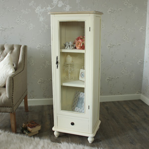 Cottage Cream Range - Cream Glazed Display Cabinet