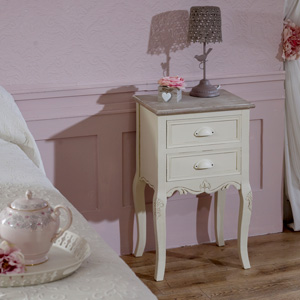 Cream Bedside Table with Drawers - Country Ash Range