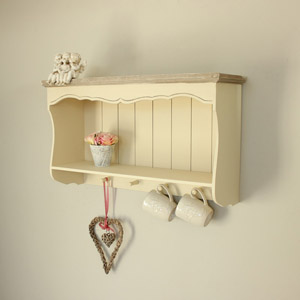 Cream Wall Shelf With Pegs - Country Ash Range