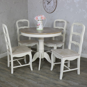 Country Ash Range - Furniture Bundle, Cream Round Pedestal Dining Table and 4 Chairs