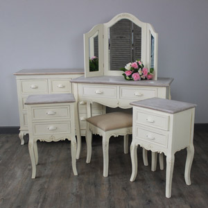 Furniture Bundle, Cream Table, Triple Mirror And Stool, Chest of Drawers and Pair of Bedsides - Country Ash Range