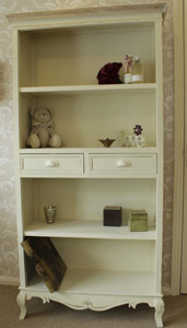Country Ash Range - Cream Bookcase Display Cabinet with Drawers