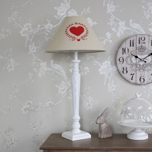 Country Style White Bedside Table Lamp with Heart Motif Shade