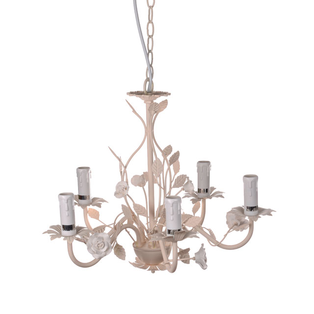 Cream 5 Arm Rose and Leaf Pendant Chandelier