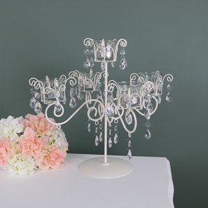 Cream Tea light Holder Candelabra - 5 Arm