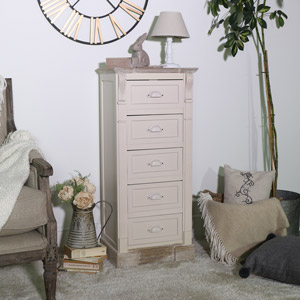 Cream 5 Drawer Tallboy Chest of Drawers - Lyon Range
