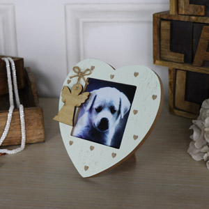 Cream Angel Heart Freestanding Photograph Frame