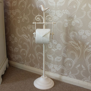 Cream Bird Toilet Roll Holder Stand