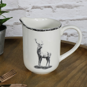 Cream Ceramic Highland Stag Jug