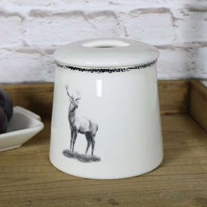 Cream Ceramic Highland Stag Storage Jar