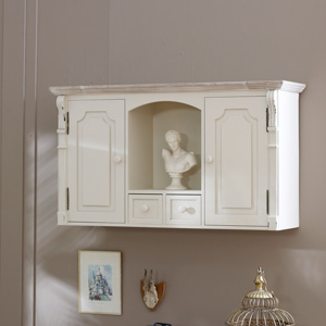 Cream wall Cupboard with Shelf and Drawers - Lyon Range