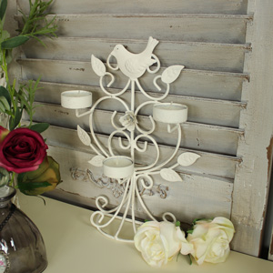 Cream Decorative Metal Bird Triple Tealight Holder