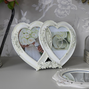 Cream Double Heart Photograph Frame