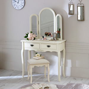 Cream Dressing Table, Large Triple Mirror and Padded Stool Set - Belgravia Range