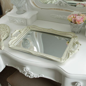 Cream and Gold Mirrored Trinket Tray