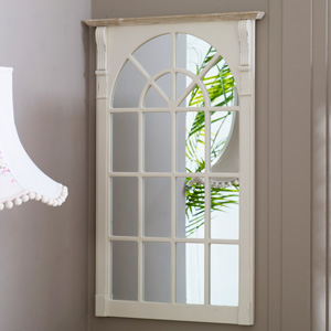 Large Cream Window Style Wall Mirror - Lyon Range 66.5cm x 100cm