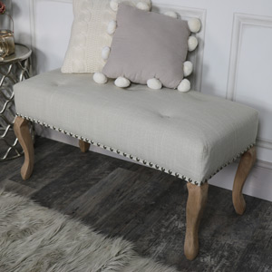 Cream Linen Upholstered Bench