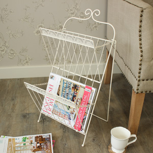 Cream Metal 2 Tier Magazine Rack
